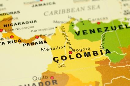 Close up of Bogota, Colomiba on map